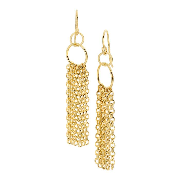 14/20 Yellow Gold-Filled Cable Chain Tassel Earrings