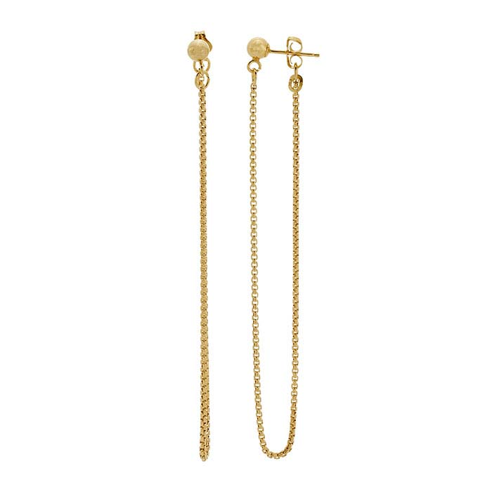 14/20 Yellow Gold-Filled Front-Back Post Earrings with Rounded Box Chain Dangle