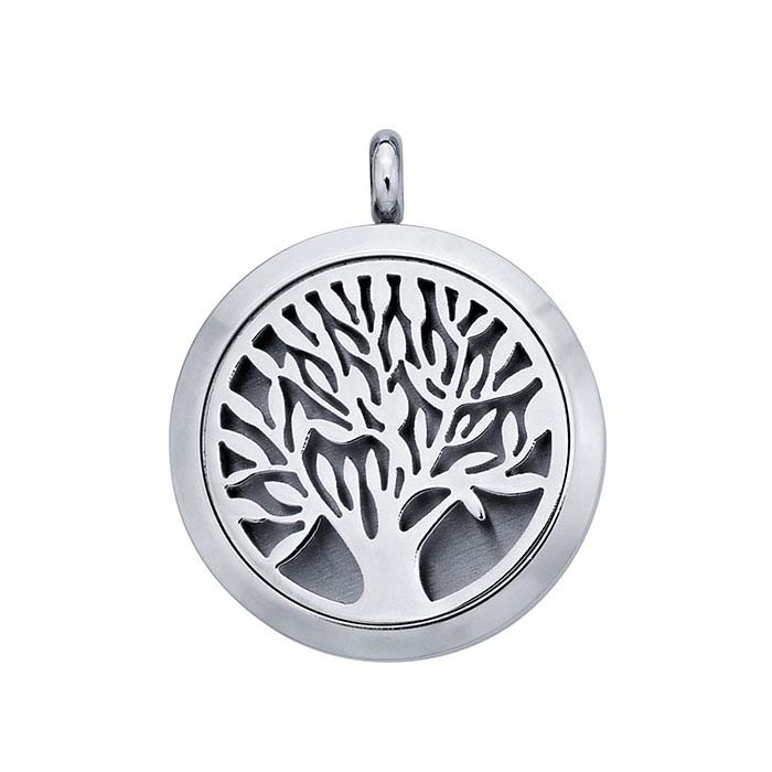 "Stainless Steel ""Tree of Life"" Aromatherapy Locket"