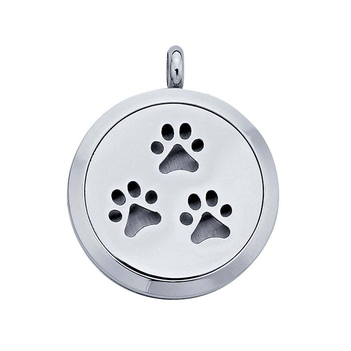 Stainless Steel Paw-Prints Aromatherapy Locket