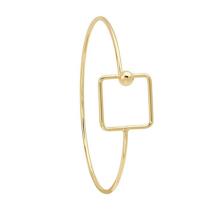Brass Yellow-Finish Square Hook & Eye Bangle Bracelet