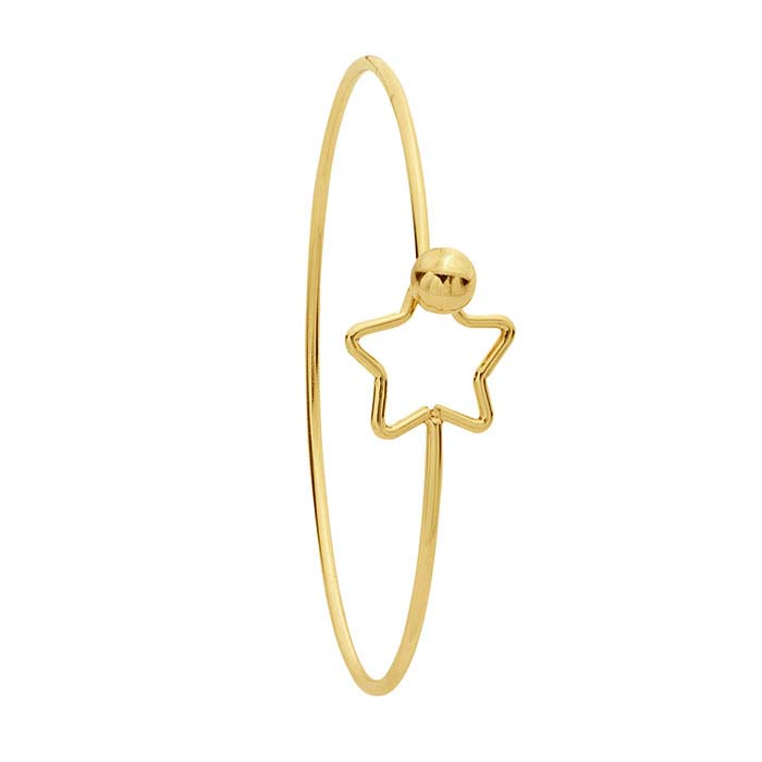 Brass Yellow-Finish Star Hook & Eye Bangle Bracelet