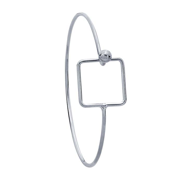 Brass Imitation Rhodium-Plated Square Hook & Eye Bangle Bracelet
