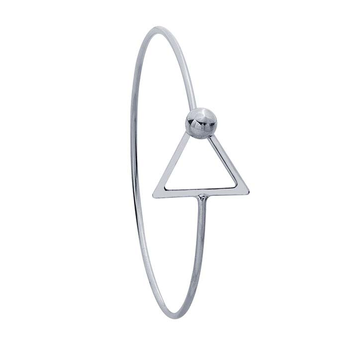 Brass Imitation Rhodium-Plated Triangle Hook & Eye Bangle Bracelet