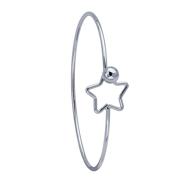 Brass Imitation Rhodium-Plated Star Hook & Eye Bangle Bracelet