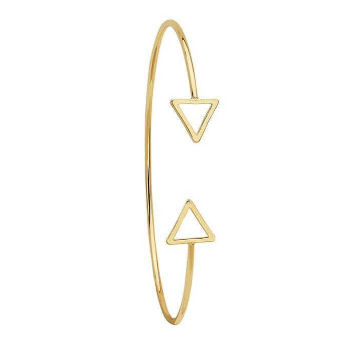 Brass Yellow-Finish Double-Triangle Cuff Bracelet