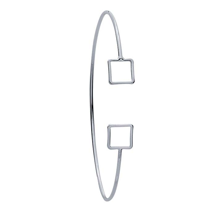 Brass Imitation Rhodium-Plated Double-Square Cuff Bracelet