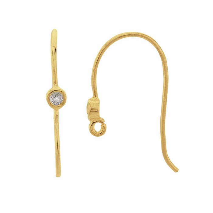 14K Yellow Gold White Topaz-Set Ear Wire with Open Ring