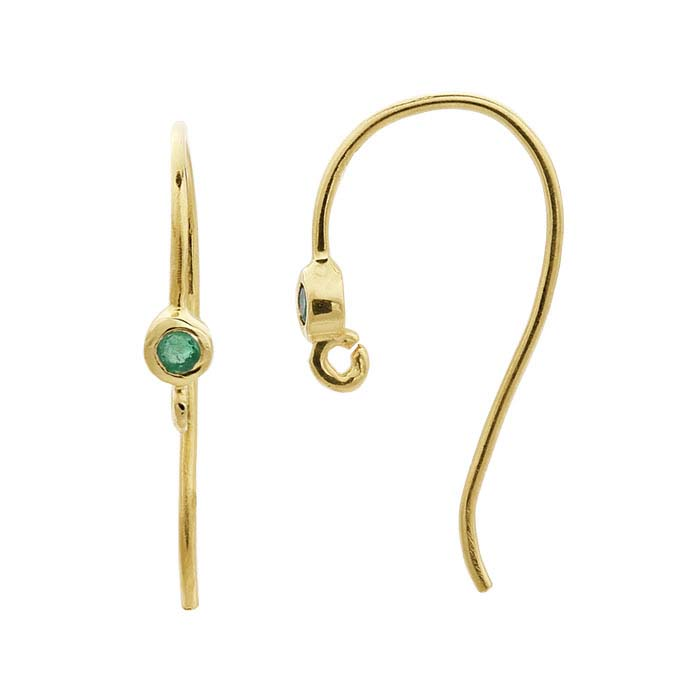 14K Yellow Gold Emerald-Set Ear Wire with Open Ring
