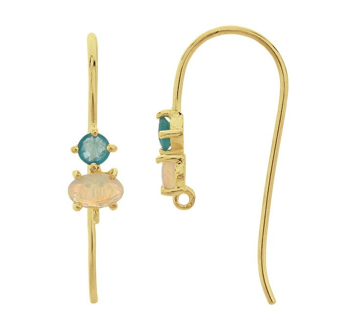14K Yellow Gold Gemstone-Set Ear Wire with Closed Ring