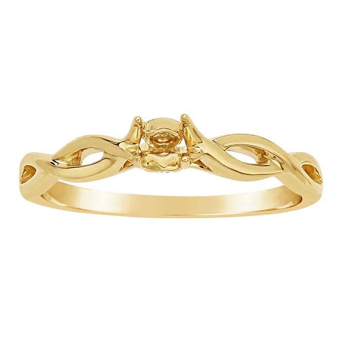 14K Yellow Gold Twist .20-Ct. Round Semi-Mount Engagement Ring Mounting