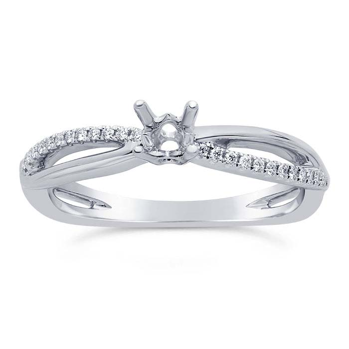 14K White Gold Twist .20-Ct. Round Semi-Mount Engagement Ring Mounting