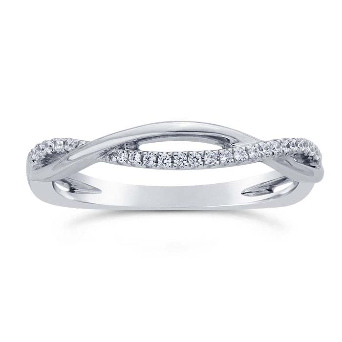 14K White Gold 3.3mm Diamond-Set Twist Wedding Band