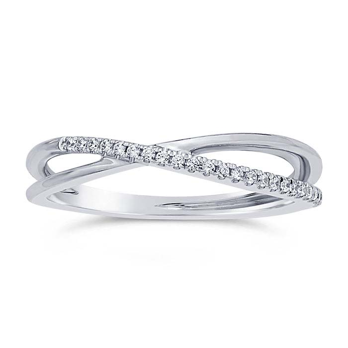 14K White Gold Diamond-Set Criss-Cross Wedding Band