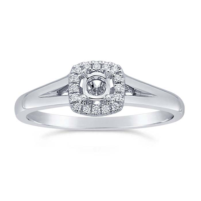14K White Gold .20-Ct. Round Semi-Mount Halo Engagement Ring Mounting