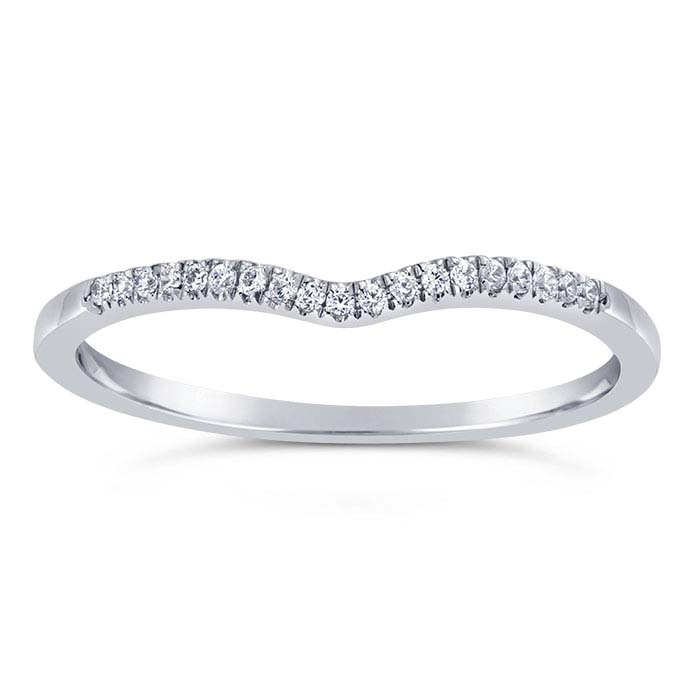 14K White Gold 1.1mm Diamond-Set V-Shaped Wedding Band