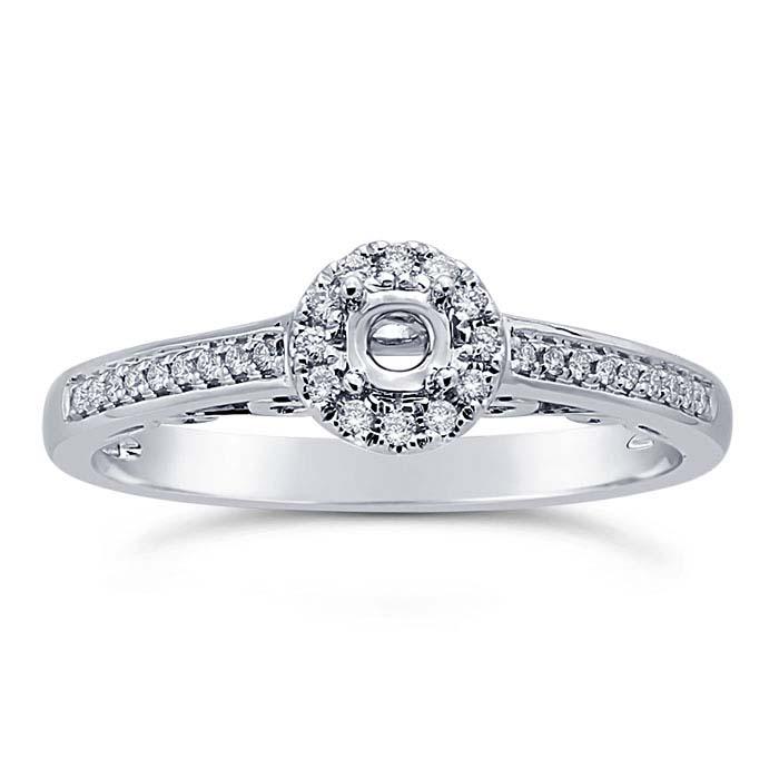 14K White Gold Millgrain .15-Ct. Round Semi-Mount Halo Engagement Ring Mounting