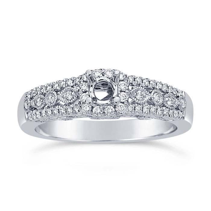 14K White Gold Filigree .20-Ct. Round Semi-Mount Halo Engagement Ring Mounting