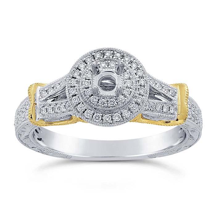 14K White Gold .15-Ct. Round Semi-Mount Halo Engagement Ring Mounting
