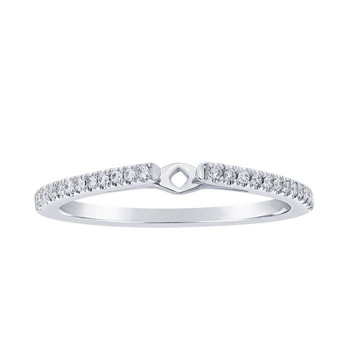 14K White Gold 1.3mm Semi-Mount Cathedral Ring Shank