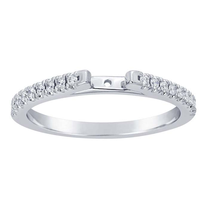 14K White Gold 1.5mm Semi-Mount Cathedral Ring Shank