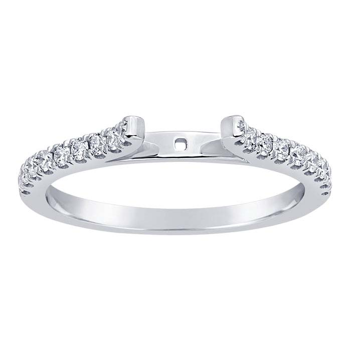 14K White Gold 1.6mm Semi-Mount Cathedral Ring Shank