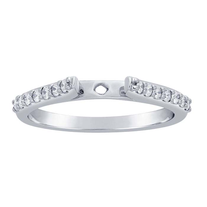 14K White Gold 1.8mm Semi-Mount Cathedral Ring Shank