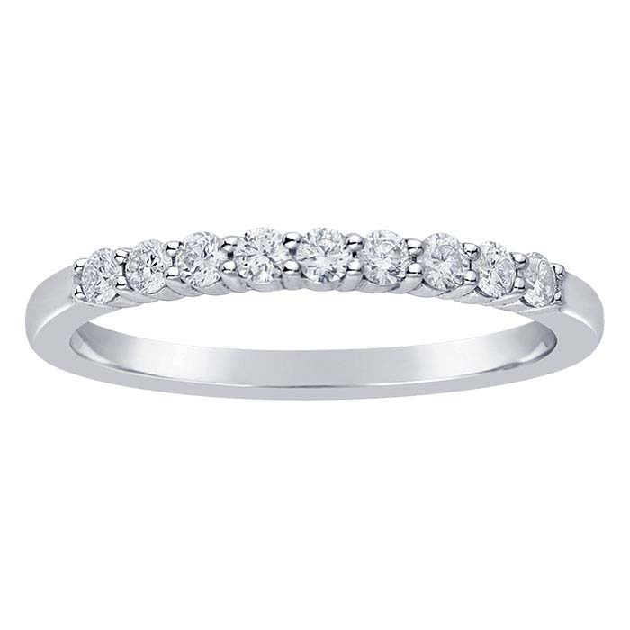 14K White Gold 1.6mm Diamond-Set Wedding Band