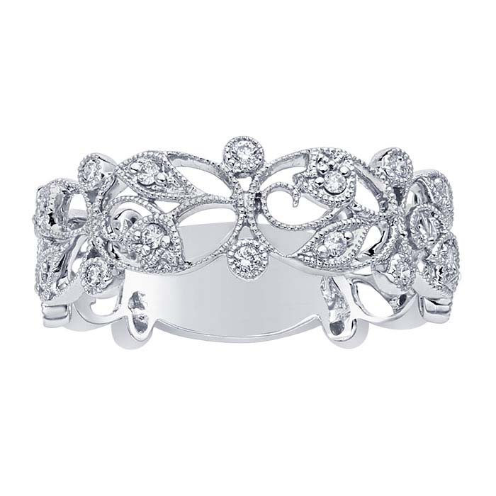14K White Gold 7.3mm Diamond-Set Filigree Band