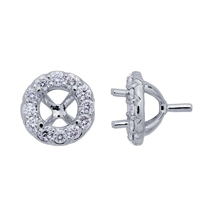 14K White Gold Round Semi-Mount Halo 4-Prong Settings with Peg