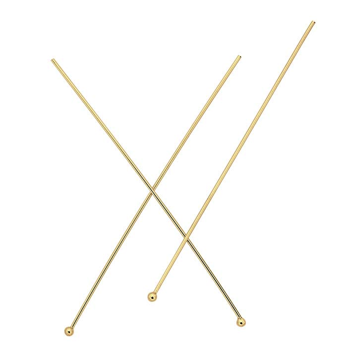 14/20 Yellow Gold-Filled 1.5mm Ball Head Pins, 1/2-Hard