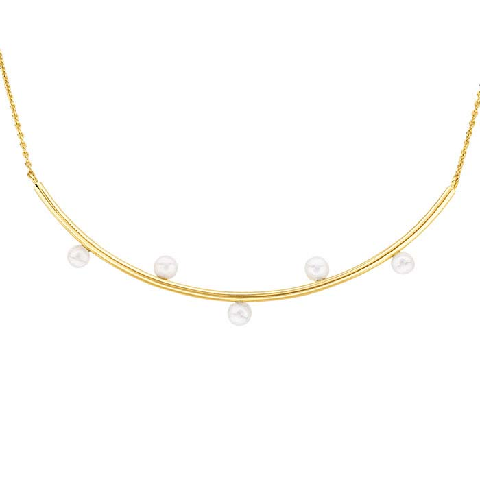 14K Yellow Gold Five-Pearl Festoon Necklace