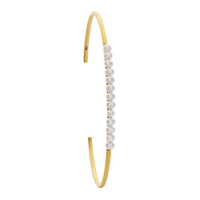 14K Yellow Gold 13-Pearl Cuff Bracelet
