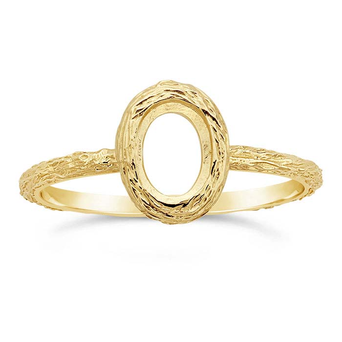 14K Yellow Gold Oval Bezel Ring Mountings