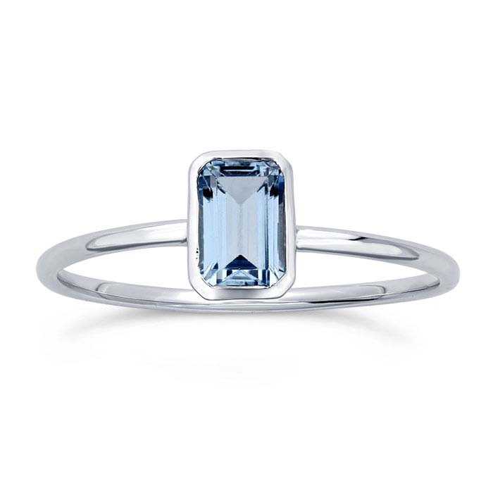 14K White Gold Octagon Sky Blue Topaz-Set Rings
