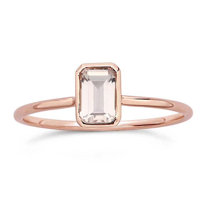 14K Rose Gold Octagon Rose Quartz-Set Rings