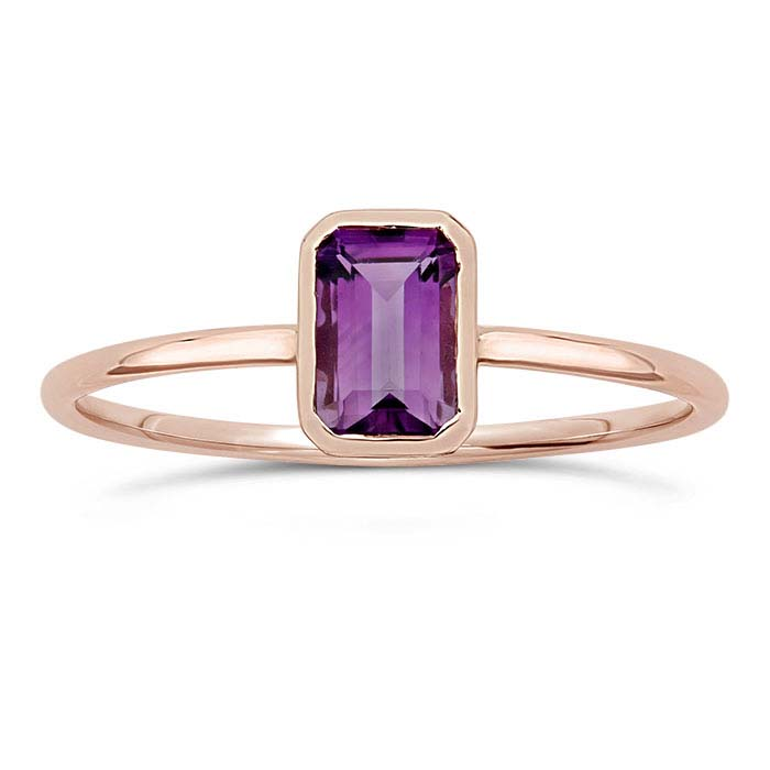 14K Rose Gold Octagon Amethyst-Set Rings