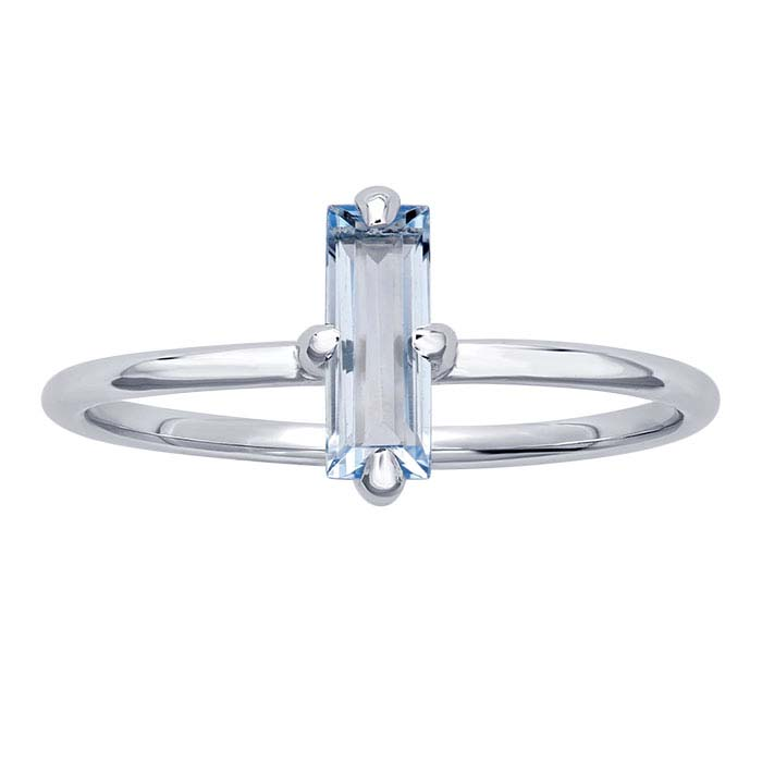 14K White Gold Baguette Sky Blue Topaz-Set Rings