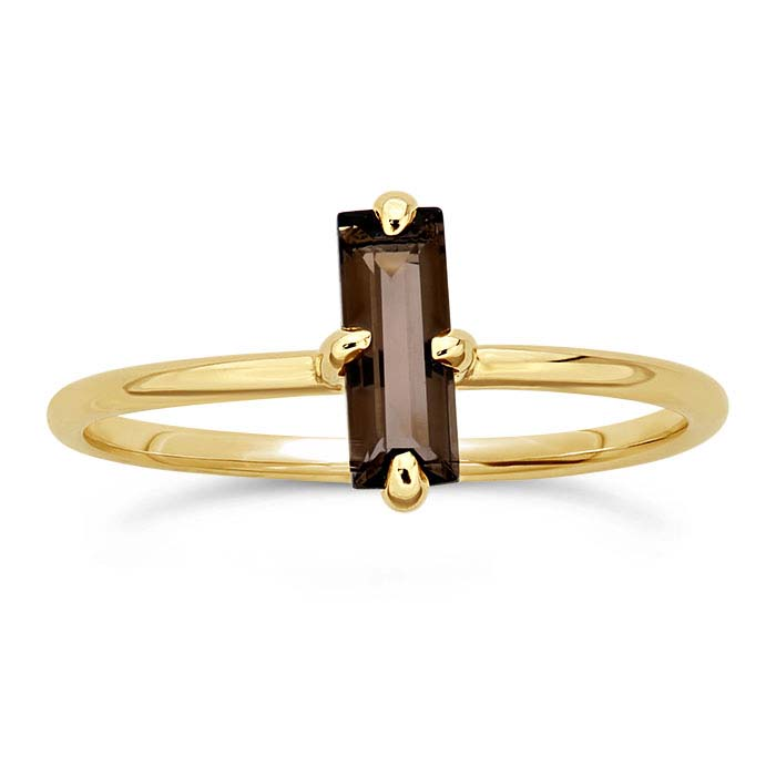 14K Yellow Gold Baguette Smoky Topaz-Set Rings