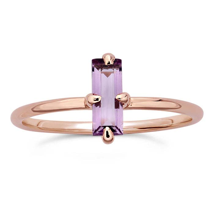 14K Rose Gold Baguette Amethyst-Set Rings