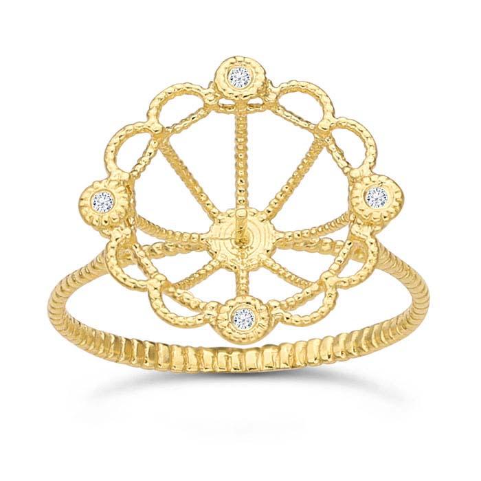 14K Yellow Gold Diamond-Set Beaded Pearl Ring Mounting