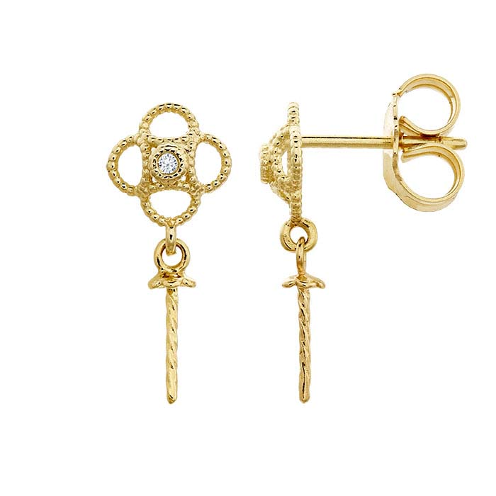 14K Yellow Gold Diamond-Set Filigree Post Earring with Pearl Mounting