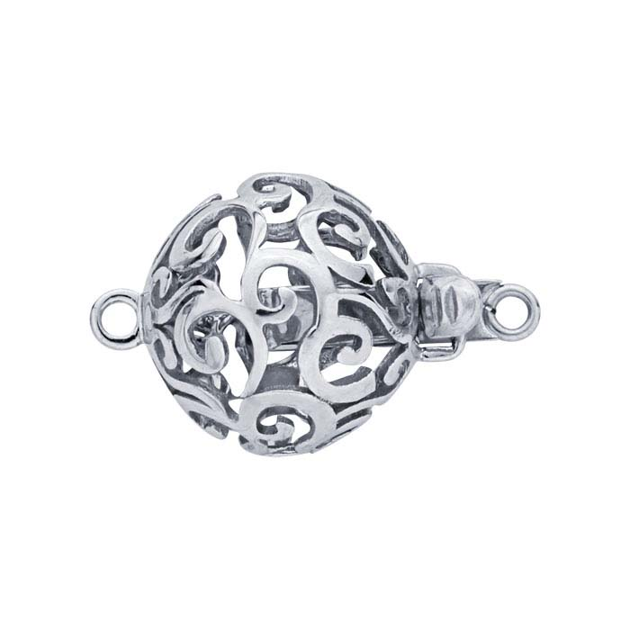 14K White Gold Round Open Swirl Bead Safety Clasp