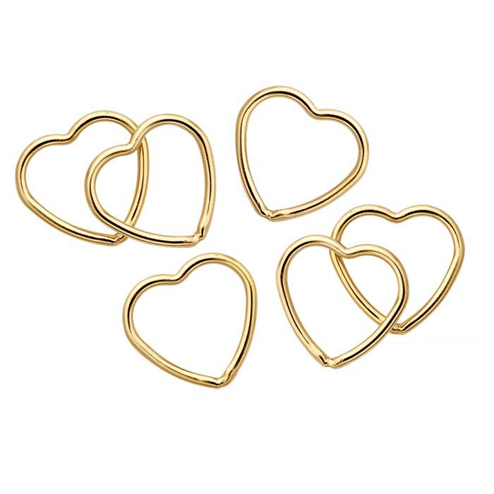 14/20 Yellow Gold-Filled Open Heart Components