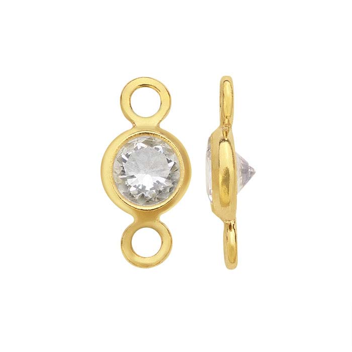 14/20 Gold-Filled Round White CZ-Set Link Component