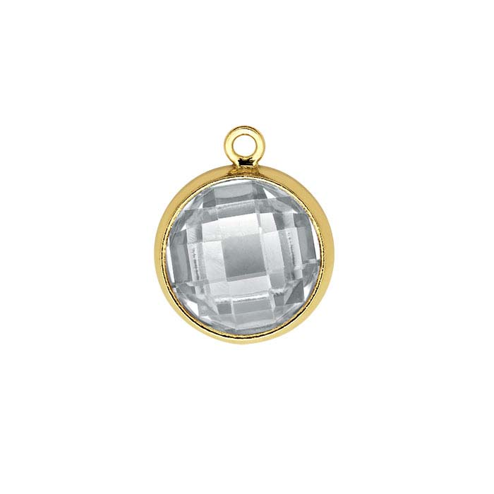 14/20 Gold-Filled Round Checkerboard White CZ-Set Component