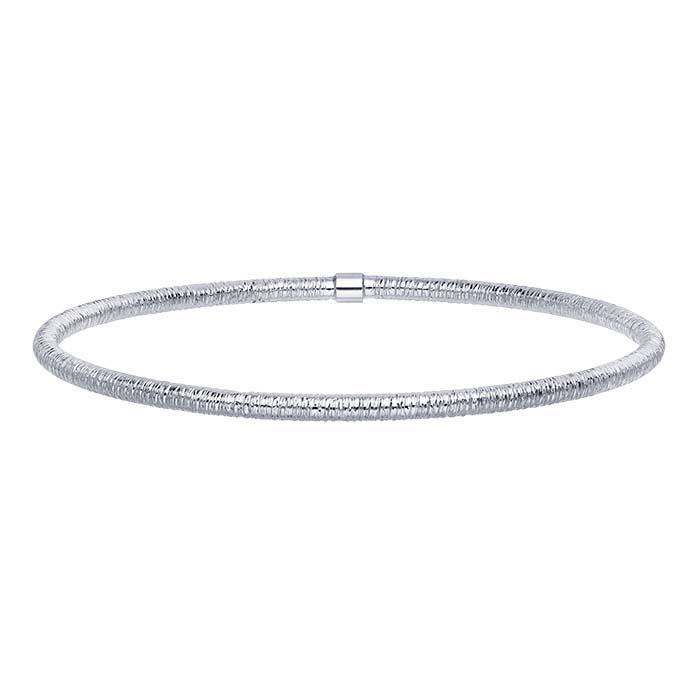 14K White Gold Textured Tubing Bangle Bracelet