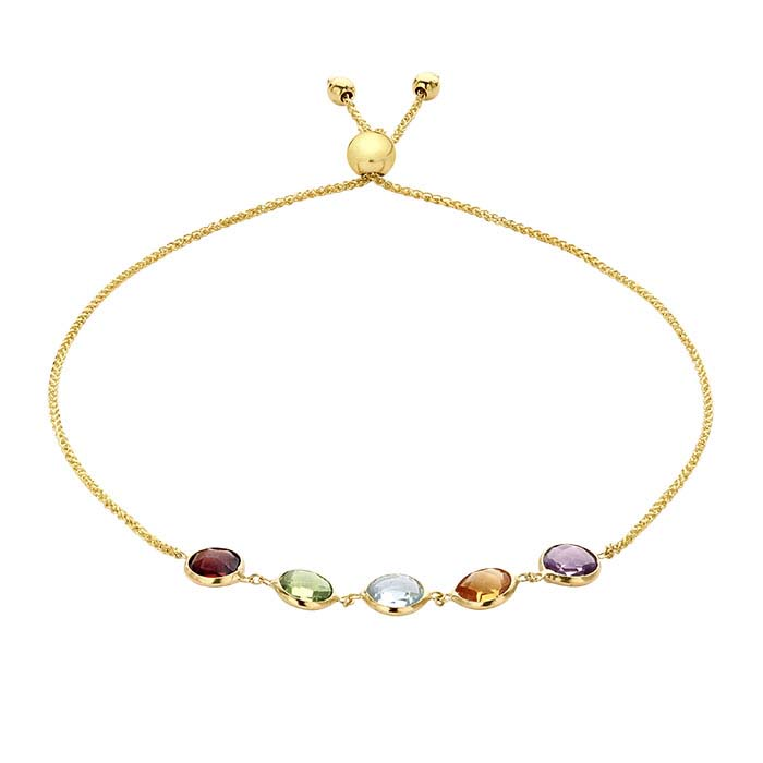 14K Yellow Gold Multi Stone-Set Bracelet, Adjustable