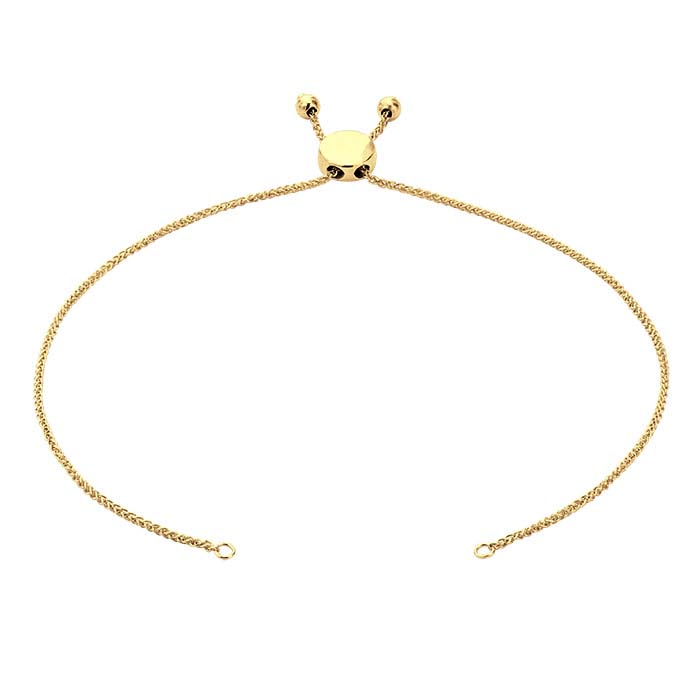14K Yellow Gold 1mm Diamond-Cut Wheat Chain Bracelet Component, Adjustable