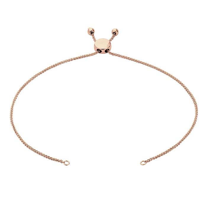 14K Rose Gold 1mm Diamond-Cut Wheat Chain Bracelet Component, Adjustable